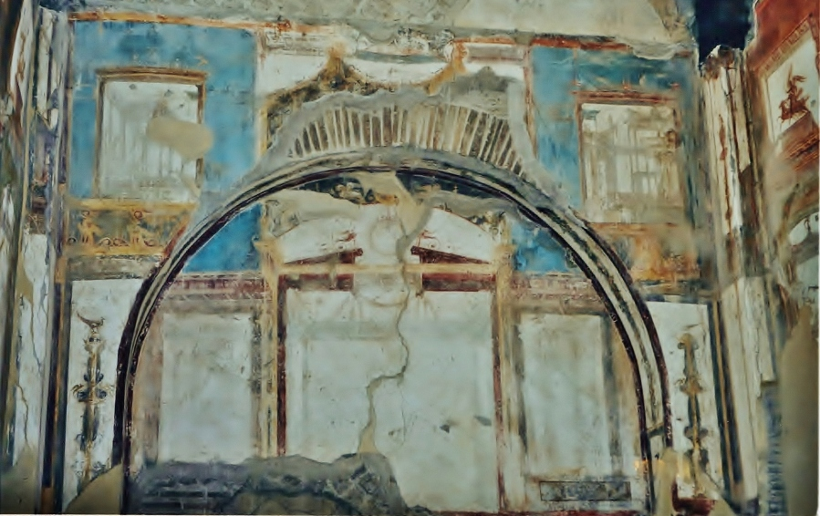 Fourth Style fresco, back wall Hall of the Augustals, Herculaneum
