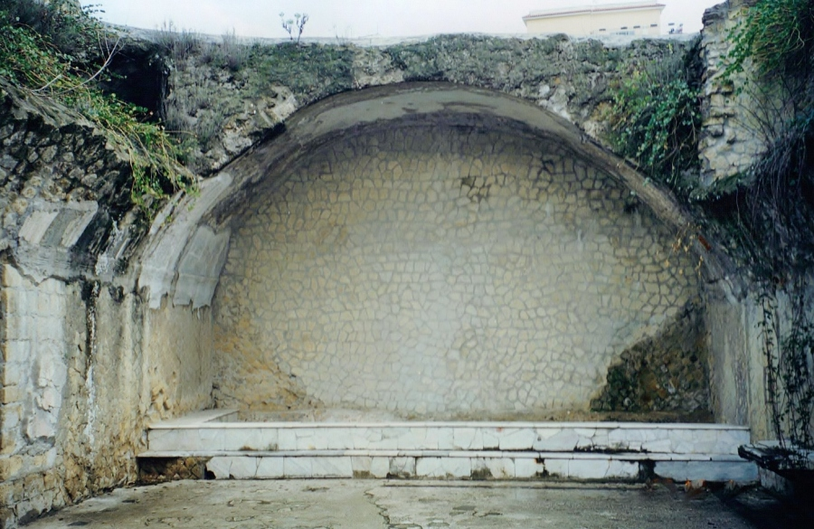 Frigidarium (cold room) plunge pool in the Forum Baths at Herculaneum. The roof above the pool has collapsed and vegetation now grows in profusion above.
