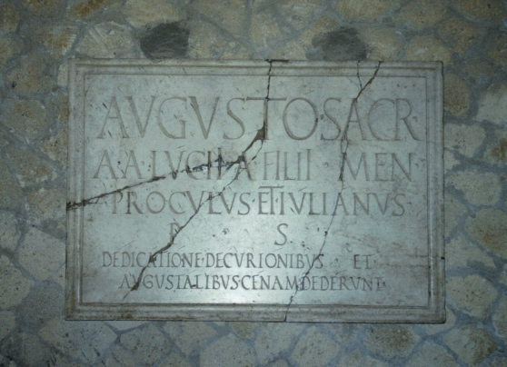 Hall of the Augustals, inauguration dedicatory plaque, Herculaneum