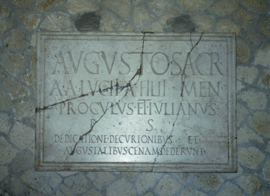 Hall of the Augustals, inauguration dedicatory plaque, Herculaneum