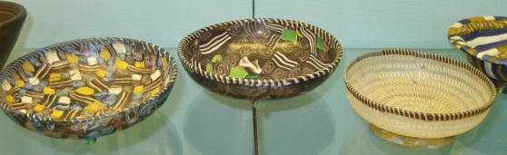 East Mediterranean Hellenistic glass bowls, ancient Greek glass, mosaic glass bowls