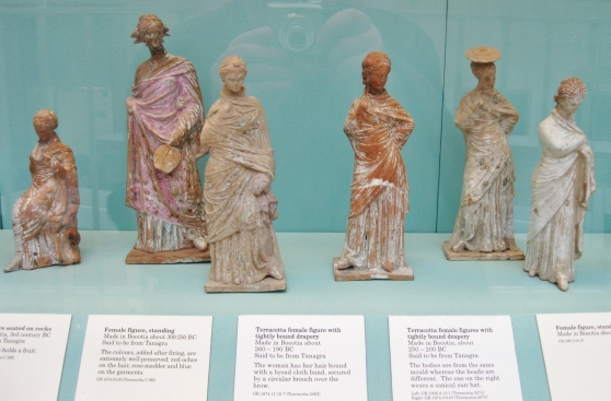 Tanagra figurines,  terracotta figurines, Greek terracottas, Greek antiquities, ancient Greek art, British Museum
