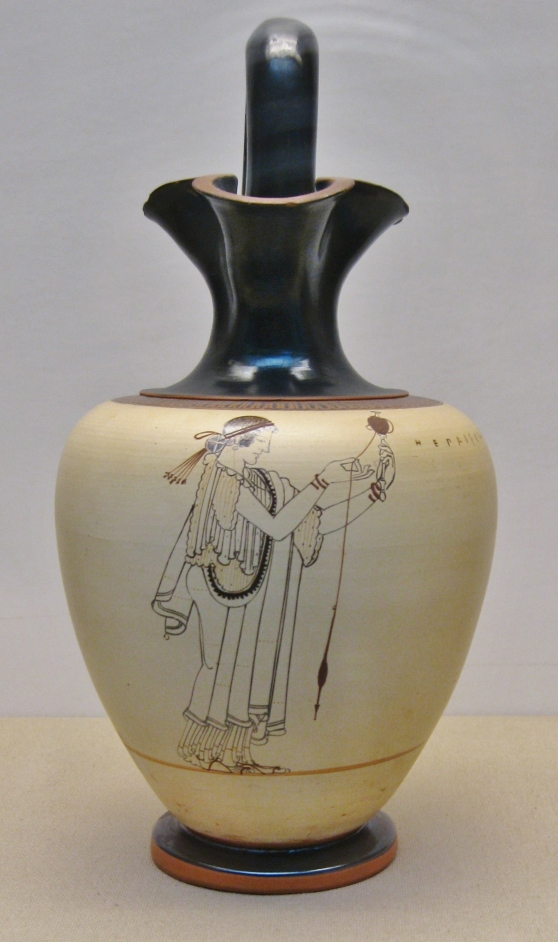 White ground jug made in Athens, Athenian pottery, Greek vases, British Museum