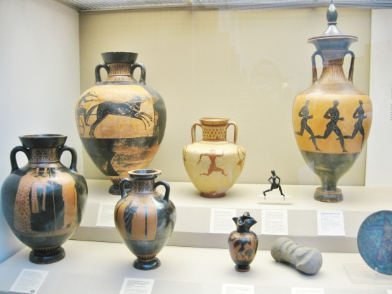 Greek black figure pottery, Greek red figure pottery, British Museum, Panathenaic prize amphora, ancient Greek athletics