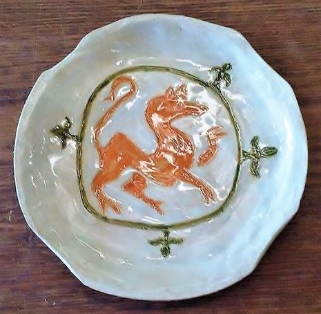North Carolina pottery, Christof Maupin artist, Wilmington NC artists, modern pottery with medieval images