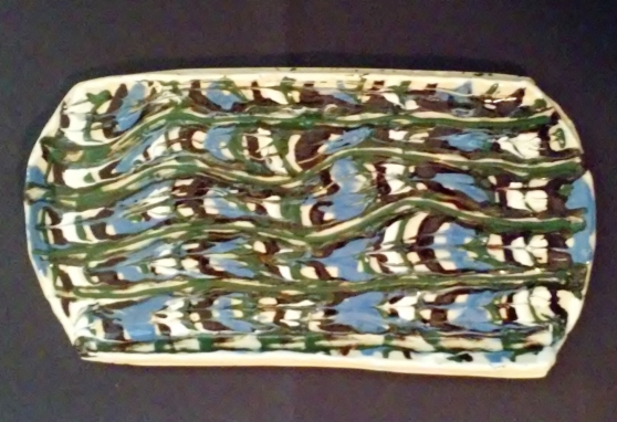 modern trailed slip decoration, trailed slip pottery, Christof Maupin artist, North Carolina pottery, modern pottery with slip trailed decoration